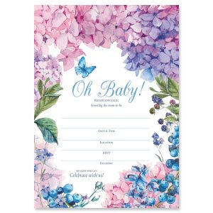 Hydrangea Fill In Baby Shower Invitations