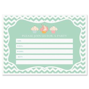 Cupcake Fill In Birthday Invitations