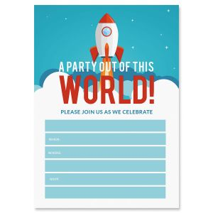 Out of This World Fill In Birthday Invitations