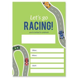 Race Car Fill In Birthday Invitations