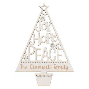 Personalized Joy Hope Peace White Wood Plaque