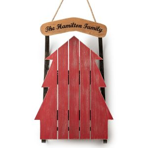 Personalized Red Wood Tree Sled Decor