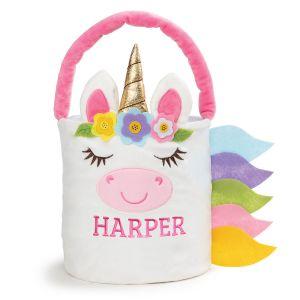 Personalized Plush Unicorn Easter Basket