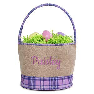 Personalized Burlap Purple Plaid Easter Basket