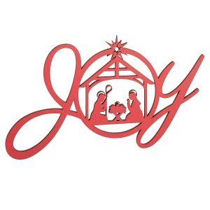 Red Wood Joy Manger Plaque