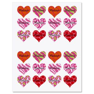 Personalized Heart Stickers