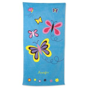 Blue Butterflies Personalized Beach Towel