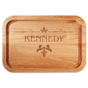Fleur de lis Red Alder Engraved Wood Cutting Board