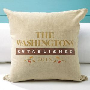 Personalized Established Burlap Pillow