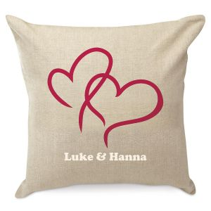 2 Hearts Burlap Pillow