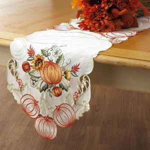Embroidered Pumpkin Table Runner