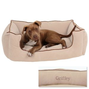 Linen Low Profile Pet Bed