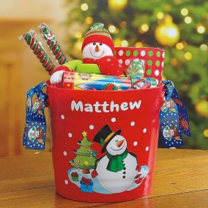 Christmas Buckets with Ribbons