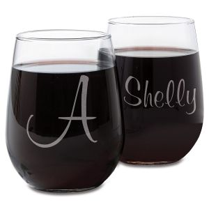 Stemless Personalized Script Wine Glasses