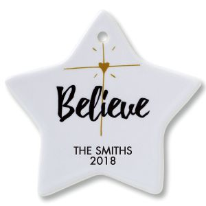 Personalized Believe Star Christmas Ornaments