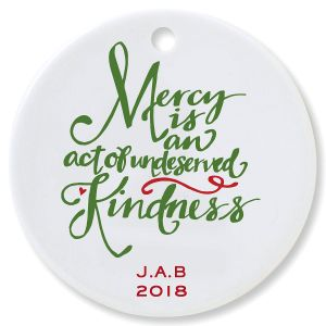 Personalized Mercy Round Christmas Ornament