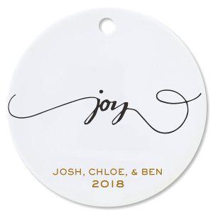 Personalized Joy Round Christmas Ornaments