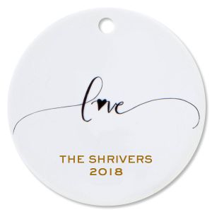 Personalized Love Round Christmas Ornaments