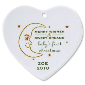 Personalized Merry Wishes Heart Baby's 1st Christmas Ornament