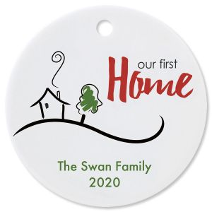 Personalized Our First Home Round Christmas Ornament