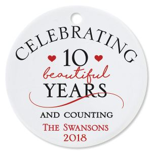 Personalized Celebrating Round Anniversary Christmas Ornament