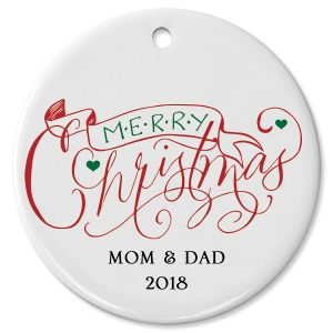 Personalized Merry Christmas Banner Round Christmas Ornament
