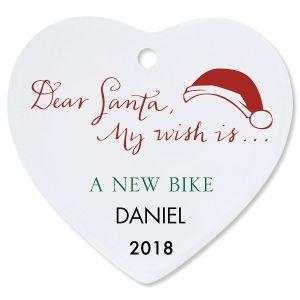 Personalized Dear Santa Heart Christmas Ornament