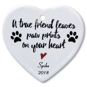 Personalized A True Friend Heart Pet Memorial Christmas Ornament