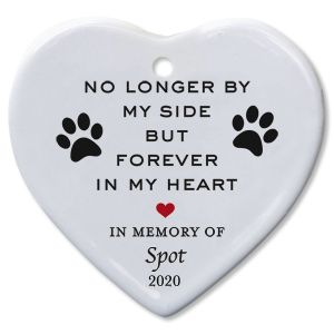 Forever In My Heart Pet Memorial Ceramic Personalized Christmas Ornament