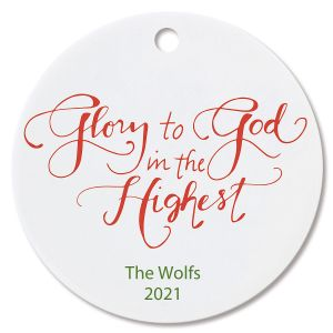 Glory to God Ceramic Personalized Christmas Ornament