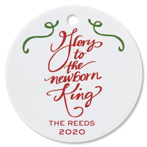 Personalized Glory to the Newborn King Round Christmas Ornament