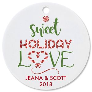 Personalized Sweet Holiday Love Round Christmas Ornament