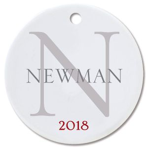 Personalized Name with Initial Round Christmas Ornament