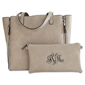 Personalized Bone Carry-All Nora Tote Bag with Matching Crossbody Purse