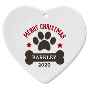 Paw Print and Bone Heart Pet Ceramic Personalized Christmas Ornament