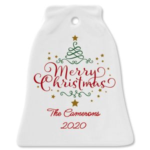 Personalized Merry Christmas Bell Christmas Ornament