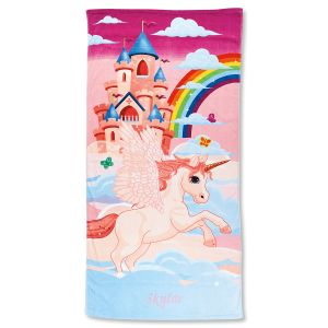 Unicorn Castle Personalized Beach Towel