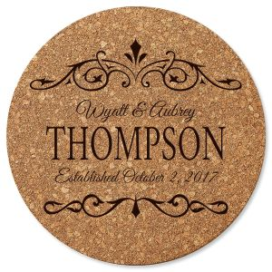 Established In… Round Cork Personalized Trivet