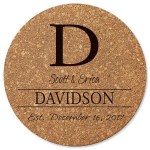 Initial Round Cork Personalized Trivet