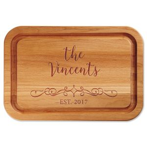 Personalized Vine-Design Wood Cutting Board