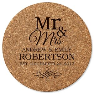Mr. & Mrs. Round Cork Personalized Trivet