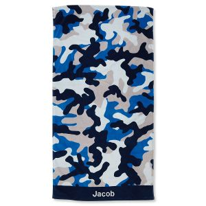 Blue Camo Personalized Beach Towel