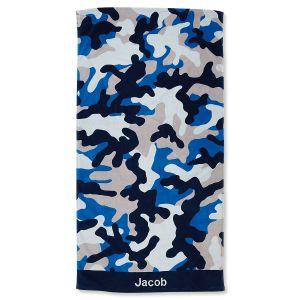 Blue Camo Personalized Beach Towel