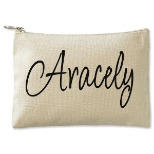 Personalized First Name Zippered Canvas Pouch