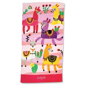 Personalized Llama Beach Towel
