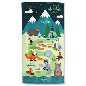 Woodland Animals Personalized Beach Towel