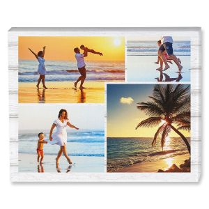 Light Wood Collage Canvas Photo Print