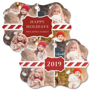 Candy Cane Personalized Photo Ornament - Bracket 4