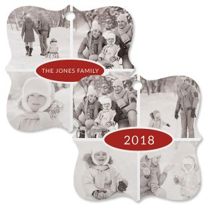 Personalized Photo  Square Bracket 4 Ornament with Year