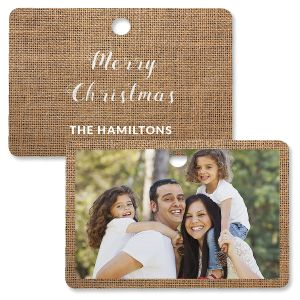 Burlap Personalized Photo Ornament – Rectangle